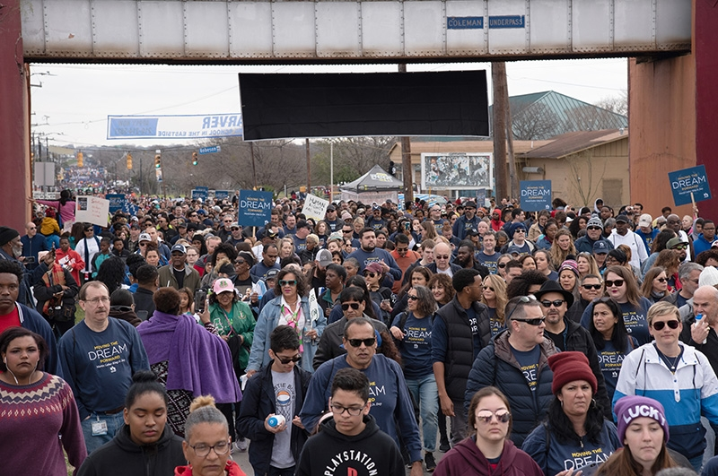 Thousands of people participate in the MLK March Monday on San Antonio's East Side. Photo by V. Finster | Heron Contributor