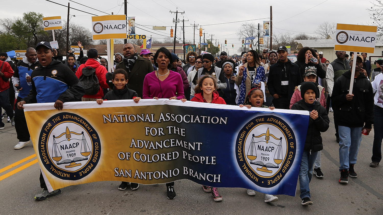 Members of the NAACP San Antonio chapter participate in the MLK March Monday on San Antonio's East Side. Photo by Ben Olivo | Heron