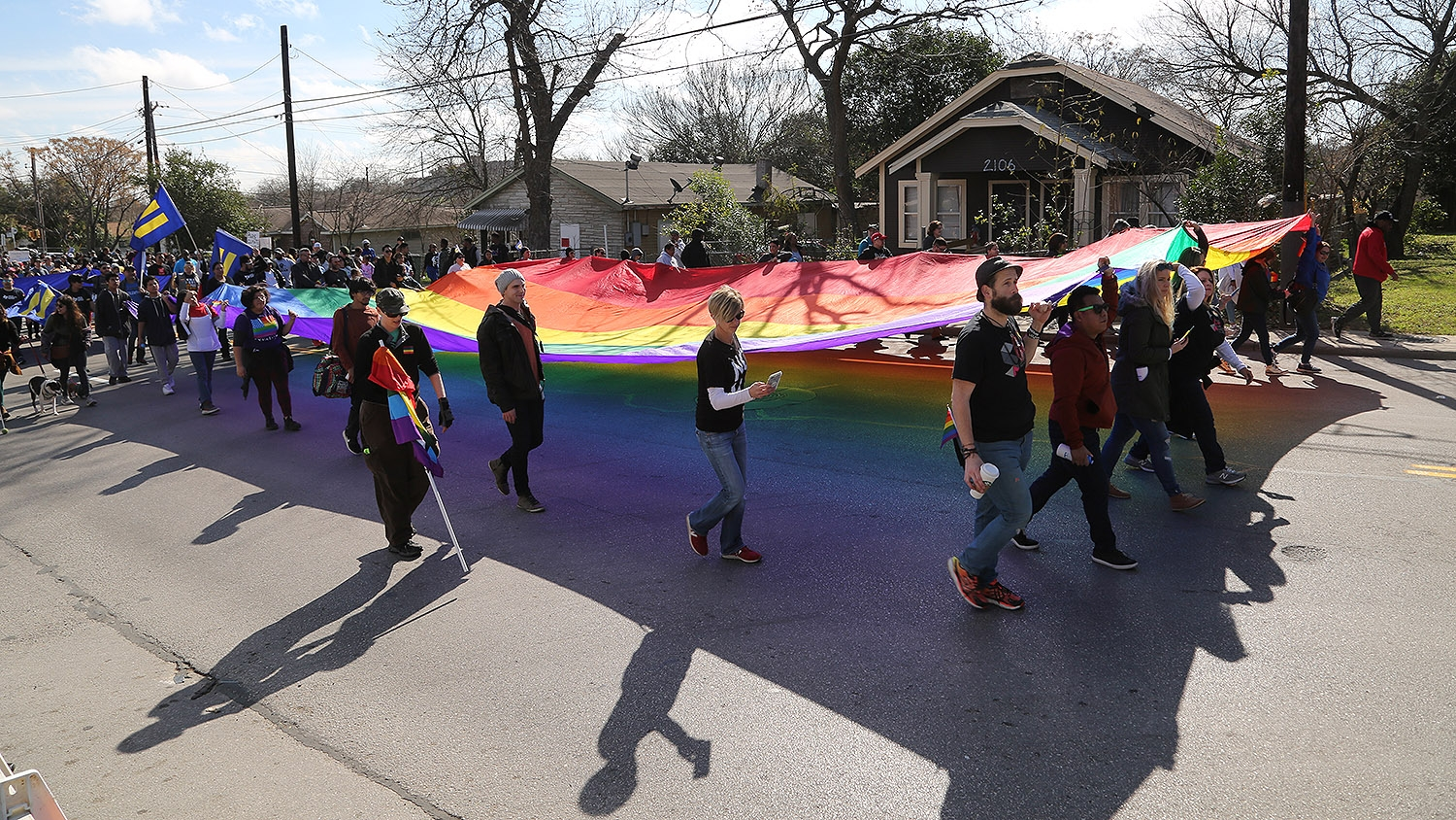 Thousands of people participate in the MLK March Monday on San Antonio's East Side. Photo by Ben Olivo | Heron