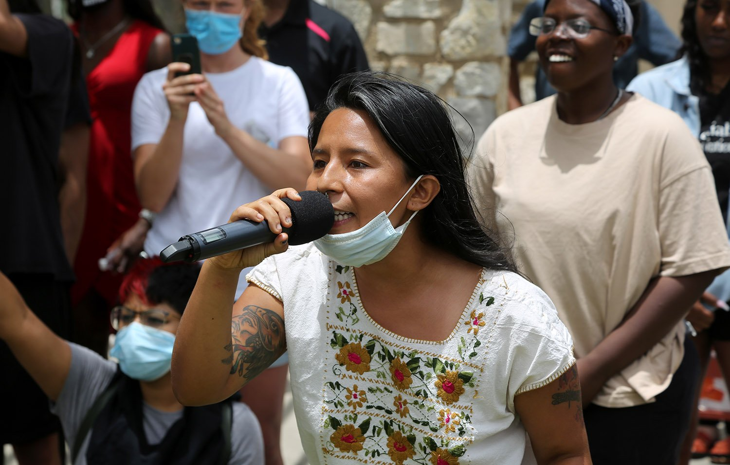 Ceiba speaks to a group of roughly 50 advocates for the removal of the Christopher Columbus statue during a protest Saturday, June 27, 2020, at Columbus Park, 200 Columbus St. Photo by Ben Olivo | Heron