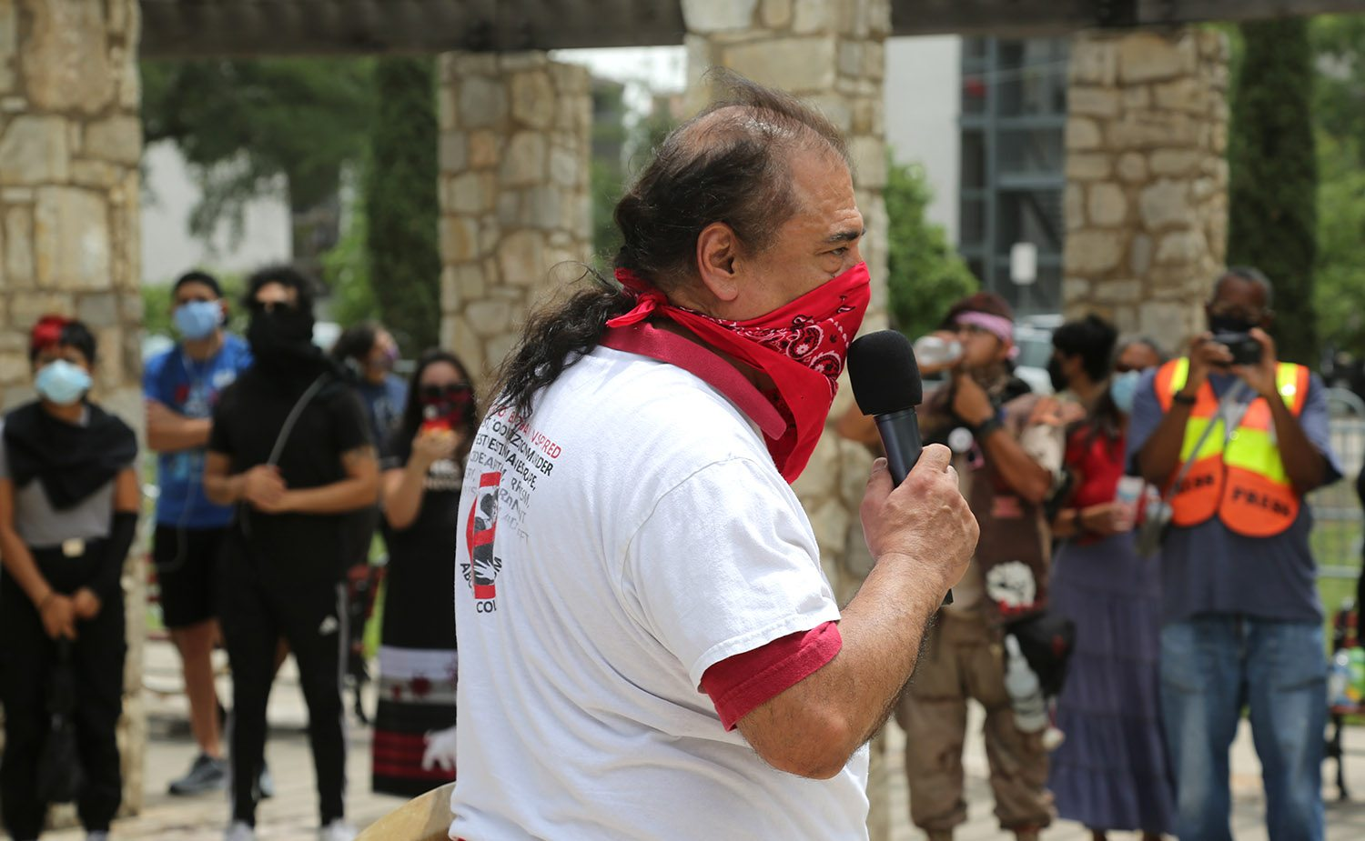 Antonio Diaz speaks to roughly 50 people during a protest advocating for the removal of the Christopher Columbus statue on Saturday, June 27, 2020, at Columbus Park, 200 Columbus St. Photo by Ben Olivo | Heron