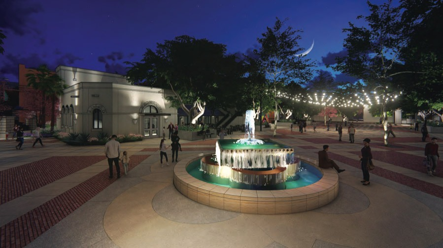 Rendering of Maverick Plaza renovation shows the fountain moved from the plaza's center closer to South Alamo Street. Courtesy Fisher Heck Architects
