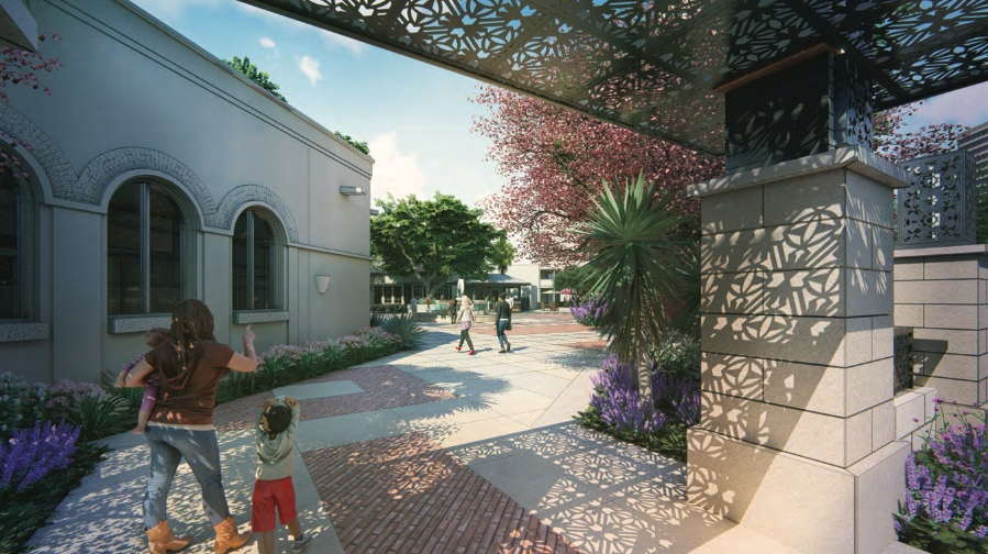Renovated Maverick Plaza on the corner of South Alamo and East Nueva streets. Courtesy Fisher Heck Architects