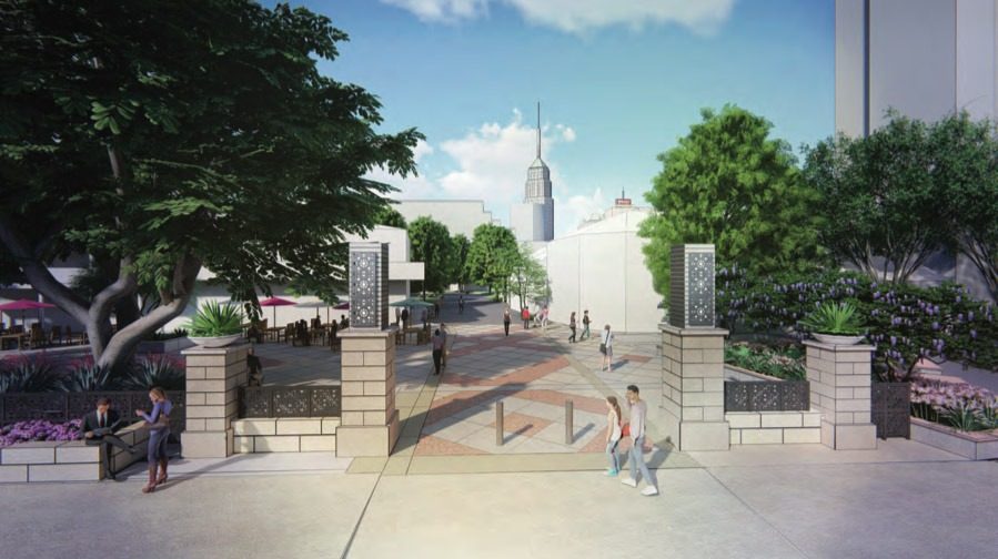 Entry to the renovated Maverick Plaza from the perspective of Villita Street. Courtesy Fisher Heck Architects