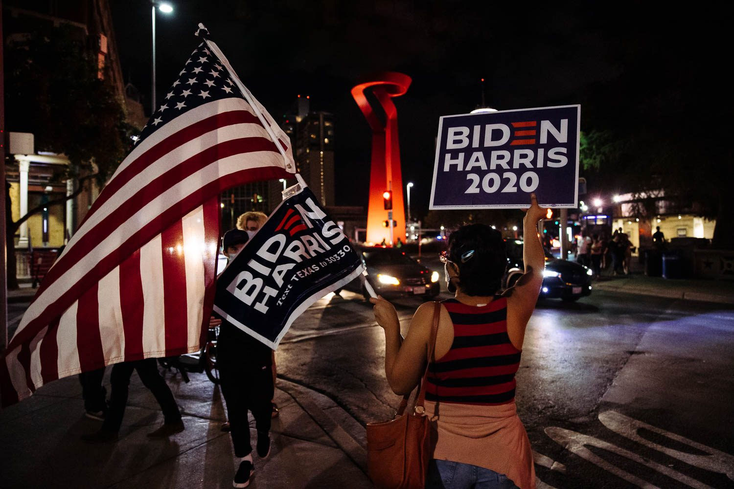 Supporters take to the streets in downtown San Antonio to celebrate President-elect Joe Biden and Vice President-elect Kamala Harris' win on Nov. 7, 2020. <b><em>Photo by Chris Stokes | Heron contributor</em></b>