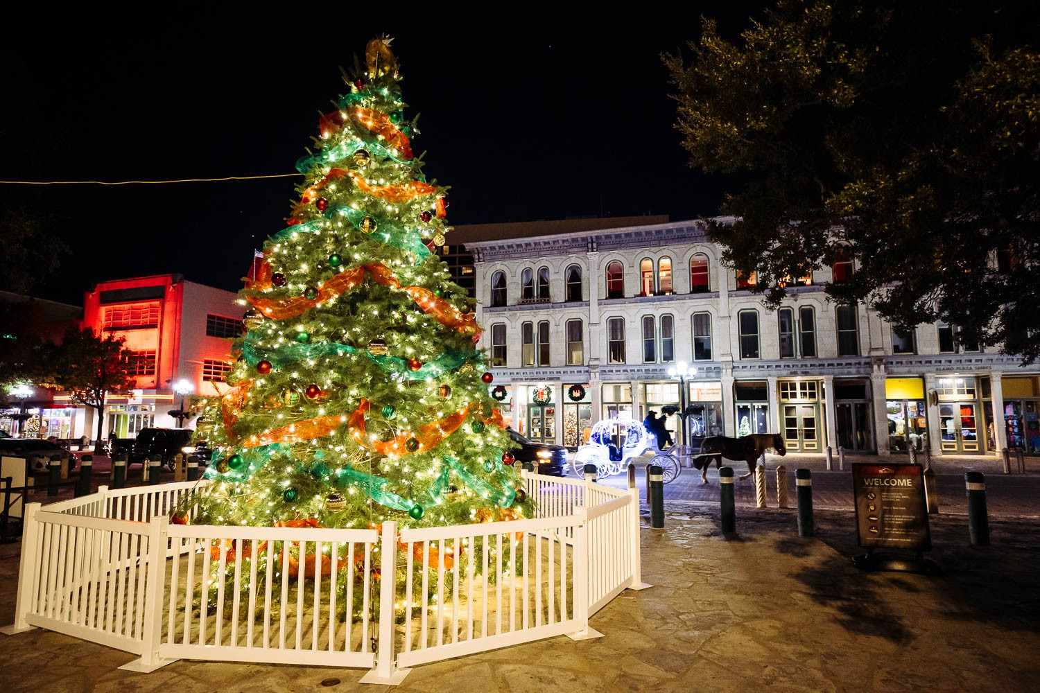 A Christmas tree stands at Alamo Plaza on Dec. 1, 2020. <b><em>Photo by Chris Stokes | Heron contributor</em></b>