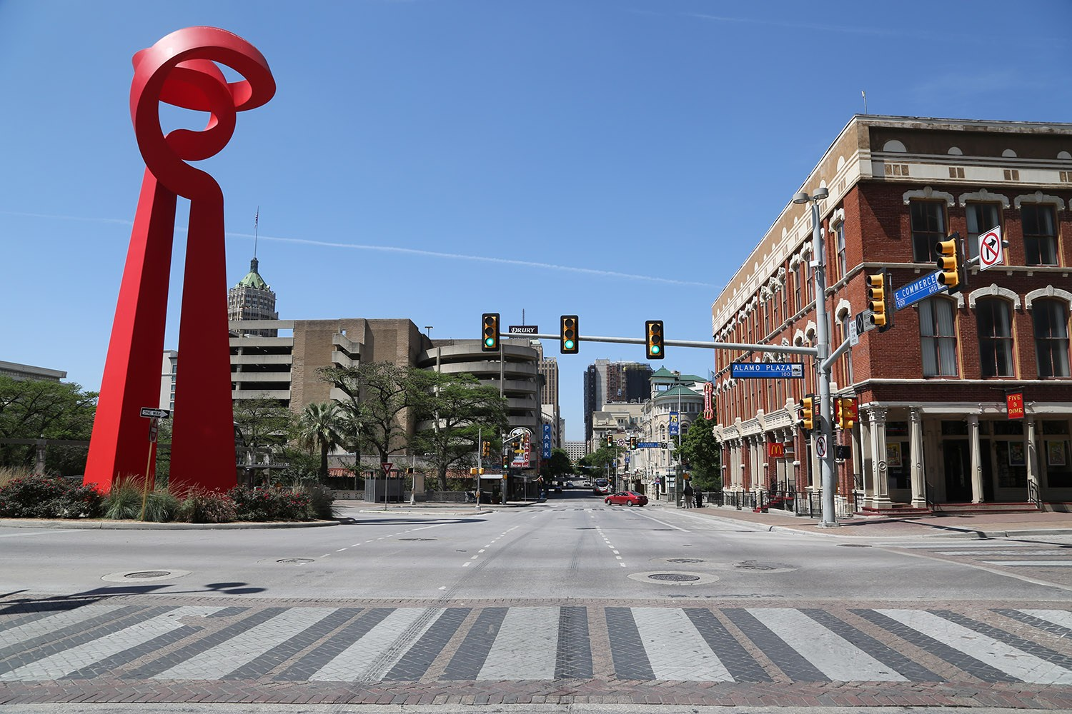 Commerce Street is nearly empty amid coronavirus on Tuesday, March 24, 2020. <b><em>Photo by Ben Olivo | Heron contributor</em></b>