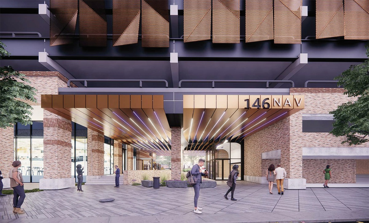 BH Properties plans to upgrade the offices of this former CPS Energy building at 146 Navarro St. View of the breezeway. Courtesy Gensler   MP Studio