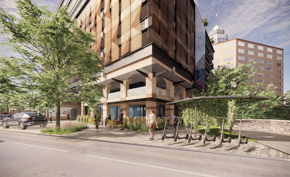 BH Properties plans to upgrade the offices of this former CPS Energy building at 146 Navarro St. View of the restaurant space. Courtesy Gensler   MP Studio