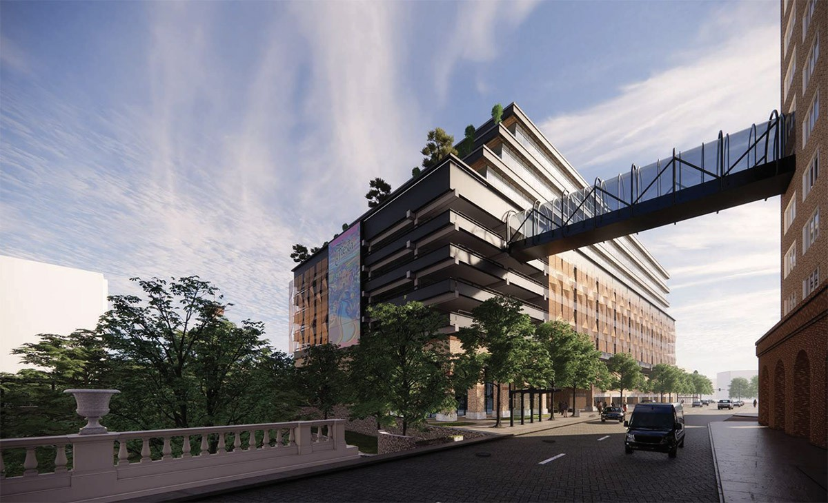 BH Properties plans to upgrade the offices of this former CPS Energy building at 146 Navarro St. View from Navarro Street. Courtesy Gensler   MP Studio