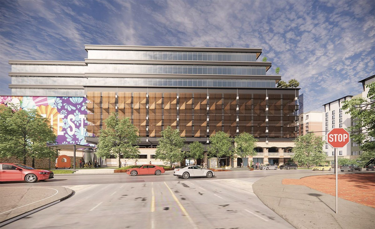 BH Properties plans to upgrade the offices of this former CPS Energy building at 146 Navarro St. View from Presa Street. Courtesy Gensler   MP Studio