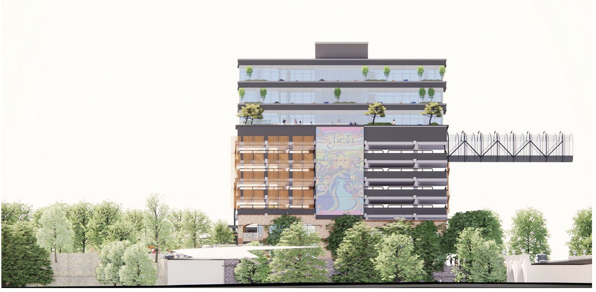 BH Properties plans to upgrade the offices of this former CPS Energy building at 146 Navarro St. View from the River Walk. Courtesy Gensler   MP Studio