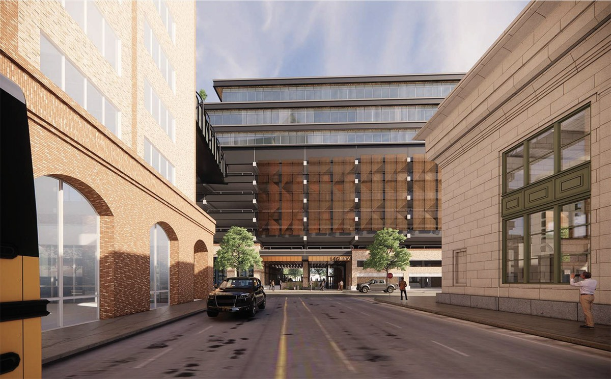BH Properties plans to upgrade the offices of this former CPS Energy building at 146 Navarro St. View from Villita Street. Courtesy Gensler   MP Studio