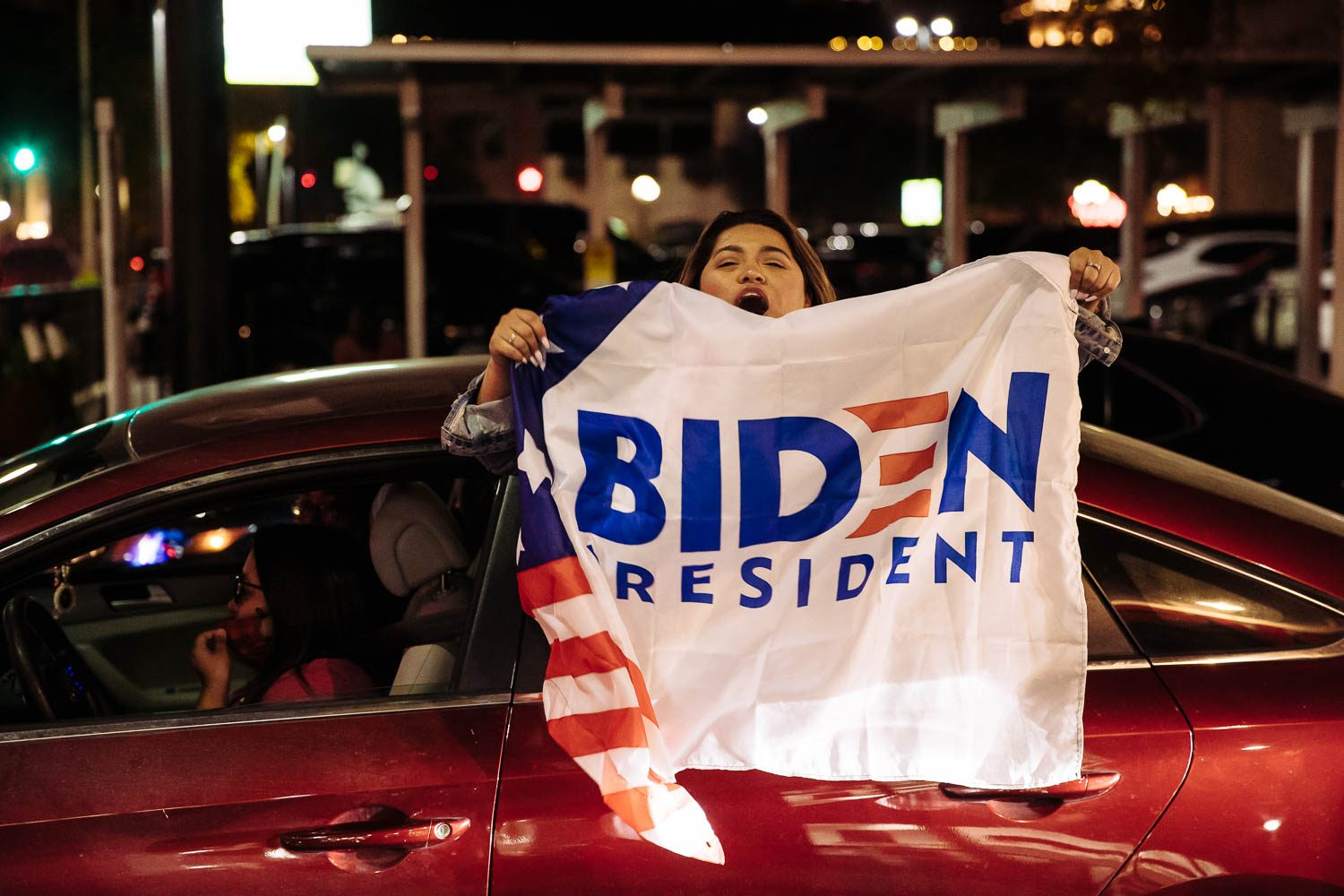 Supporters take to the streets in downtown San Antonio to celebrate President-elect Joe Biden and Vice President-elect Kamala Harris. Photo by Chris Stokes | Heron contributor