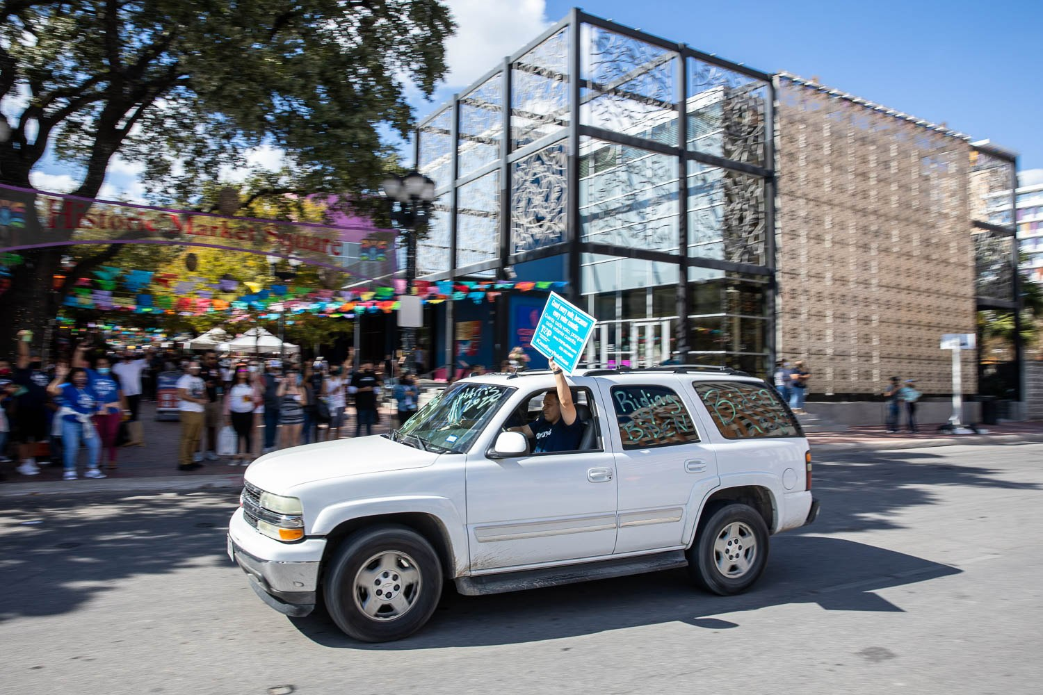San Antonians caravaned through downtown to celebrate the President-elect Joe Biden and Kamala Harris's win on November 7, 2020. Photo by Stephanie Marquez | Heron contributor