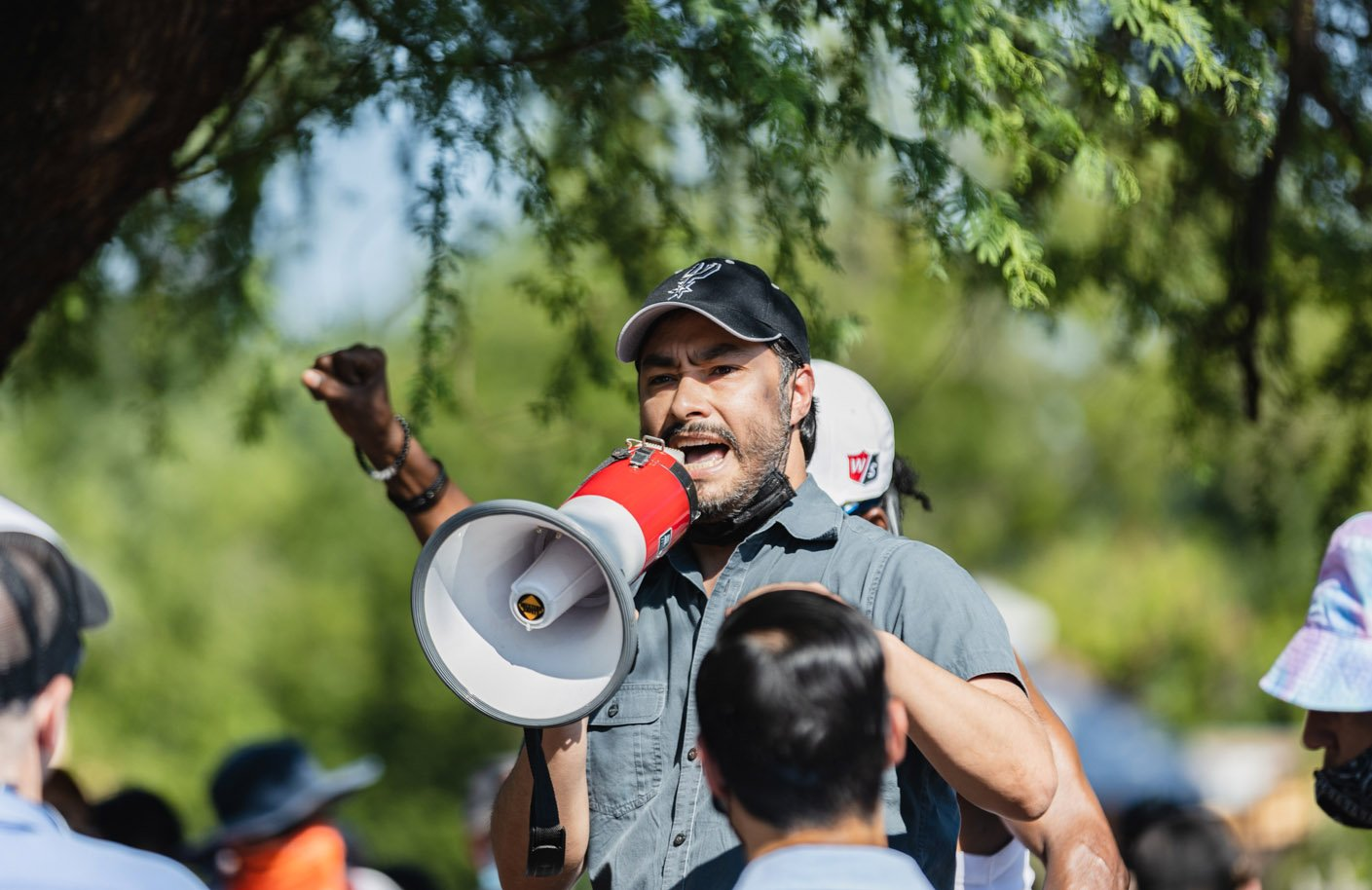 U.S. Rep Joaquin Castro speaks speaks at a Black Lives Matter rally at Blue Star Arts Complex on Monday, June 8, 2020. <b>Photo by Isaiah Alonzo | Heron contributor</b>