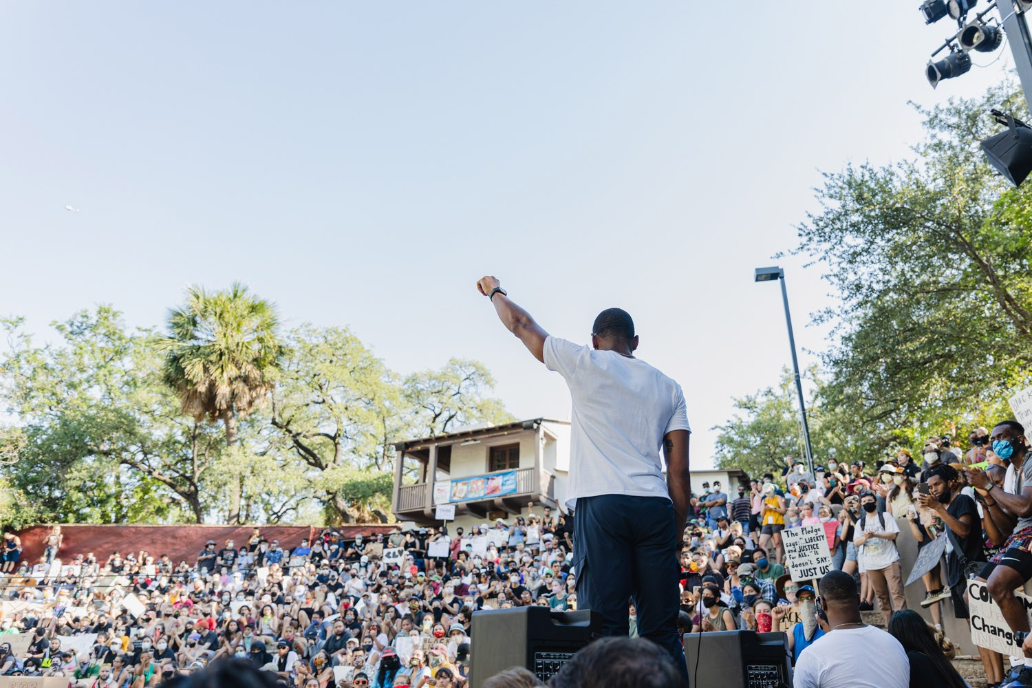 Trevor Taylor speaks at a Black Lives Matter rally at Arneson River Theatre on Monday, June 8, 2020. <b>Photo by Isaiah Alonzo | Heron contributor</b>