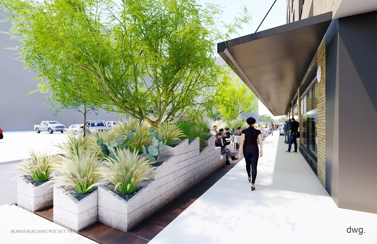 The Burns building renovation also includes a pocket park along Jefferson Street. <em><b> Rendering Courtesy of DWG./AREA Real Estate</b></em>