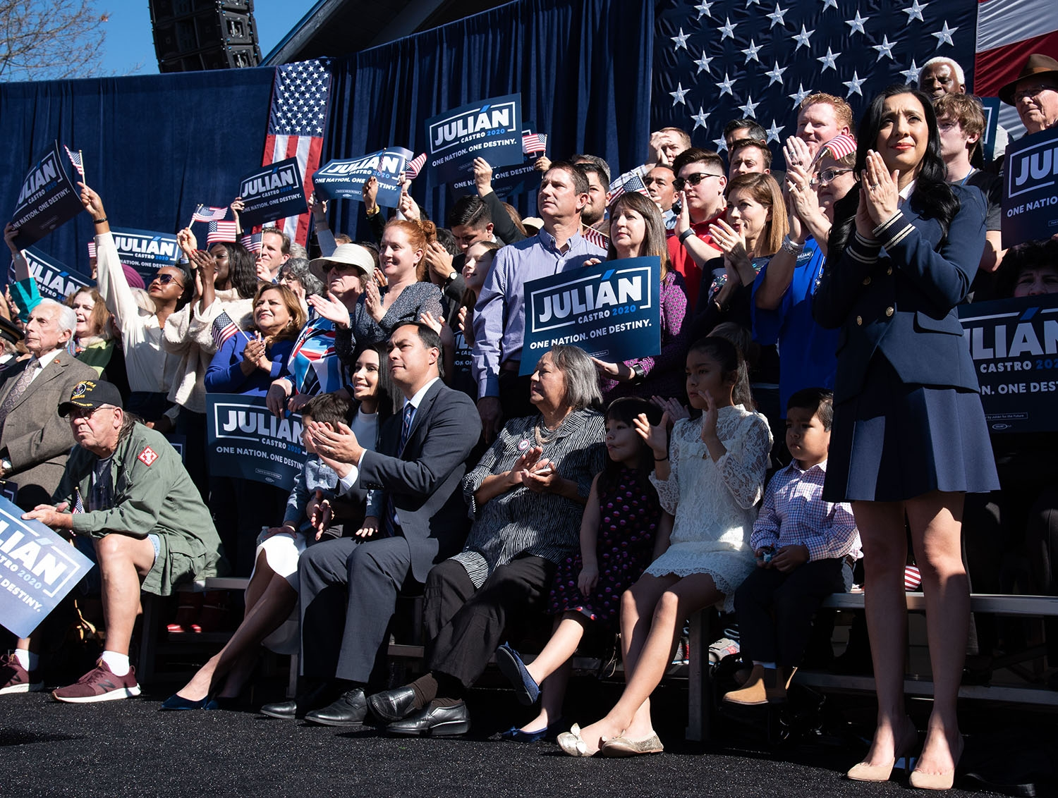 The Castros during Julián Castro's announcement to run in the 2020 presidential election Jan. 12 at Plaza Guadalupe. Photo: V. Finster | Heron contributor