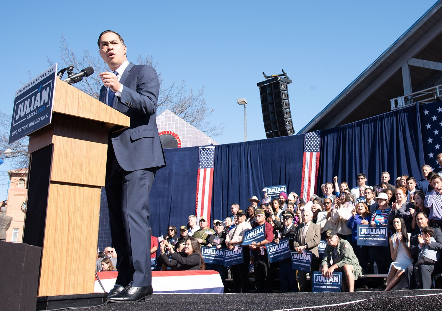 Julián Castro speaks during his announcement to run in the 2020 presidential election Saturday morning at Plaza Guadalupe. Photo: V. Finster | Heron contributor