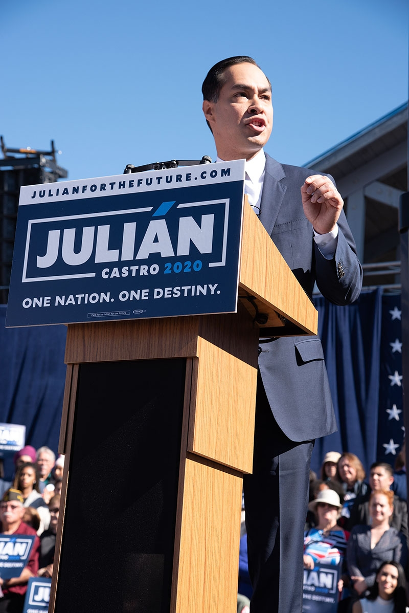 Julián Castro speaks during his announcement to run in the 2020 presidential election Jan. 12 at Plaza Guadalupe. Photo: V. Finster | Heron contributor