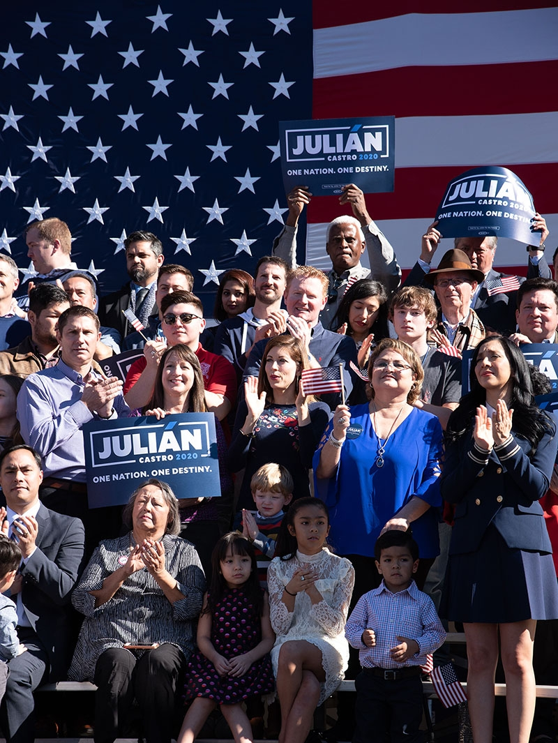 Supporters cheer behind Julián Castro Saturday morning at Plaza Guadalupe. Julián Castro speaks during his announcement to run in the 2020 presidential election Jan. 12 at Plaza Guadalupe. Photo: V. Finster | Heron contributor