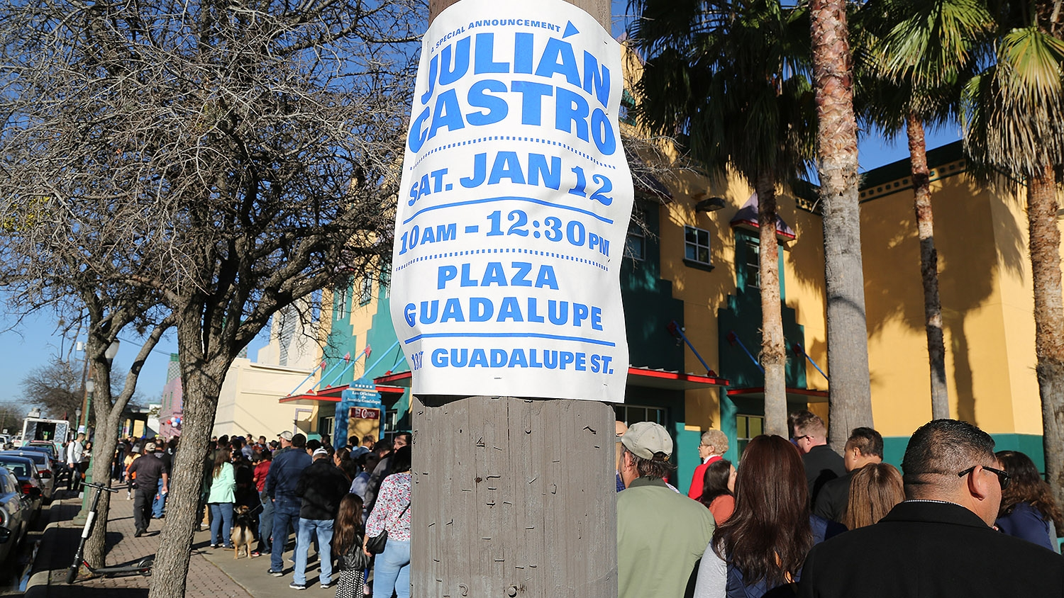 Supporters of Julián Castro wait to enter Plaza Guadalupe Saturday morning when Castro announced he's running for president of the United States. Photo: Ben Olivo | Heron