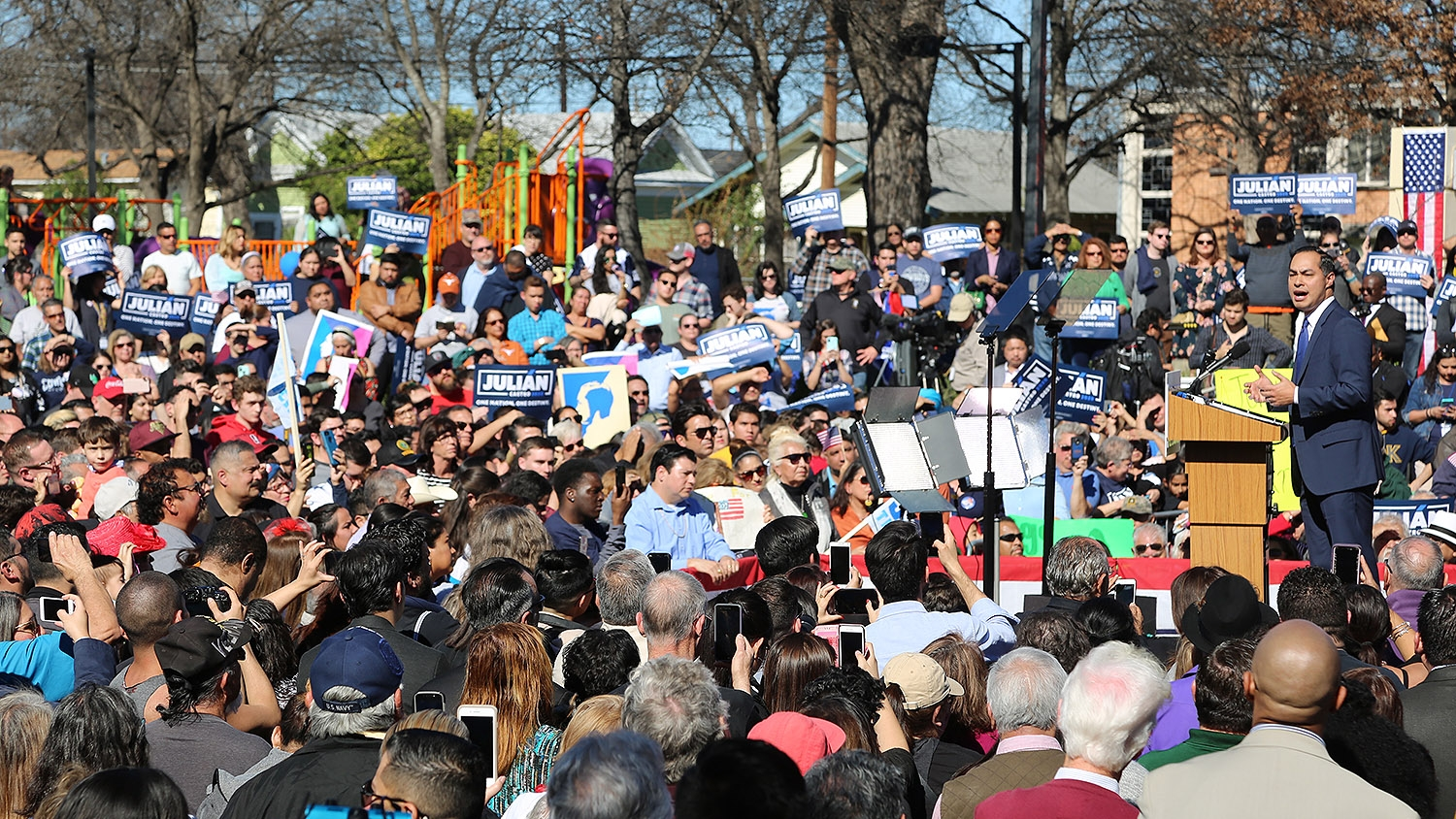 Julián Castro announces his run at the presidency of the United States Saturday morning at Plaza Guadalupe on the near West Side. Photo: Ben Olivo | Heron