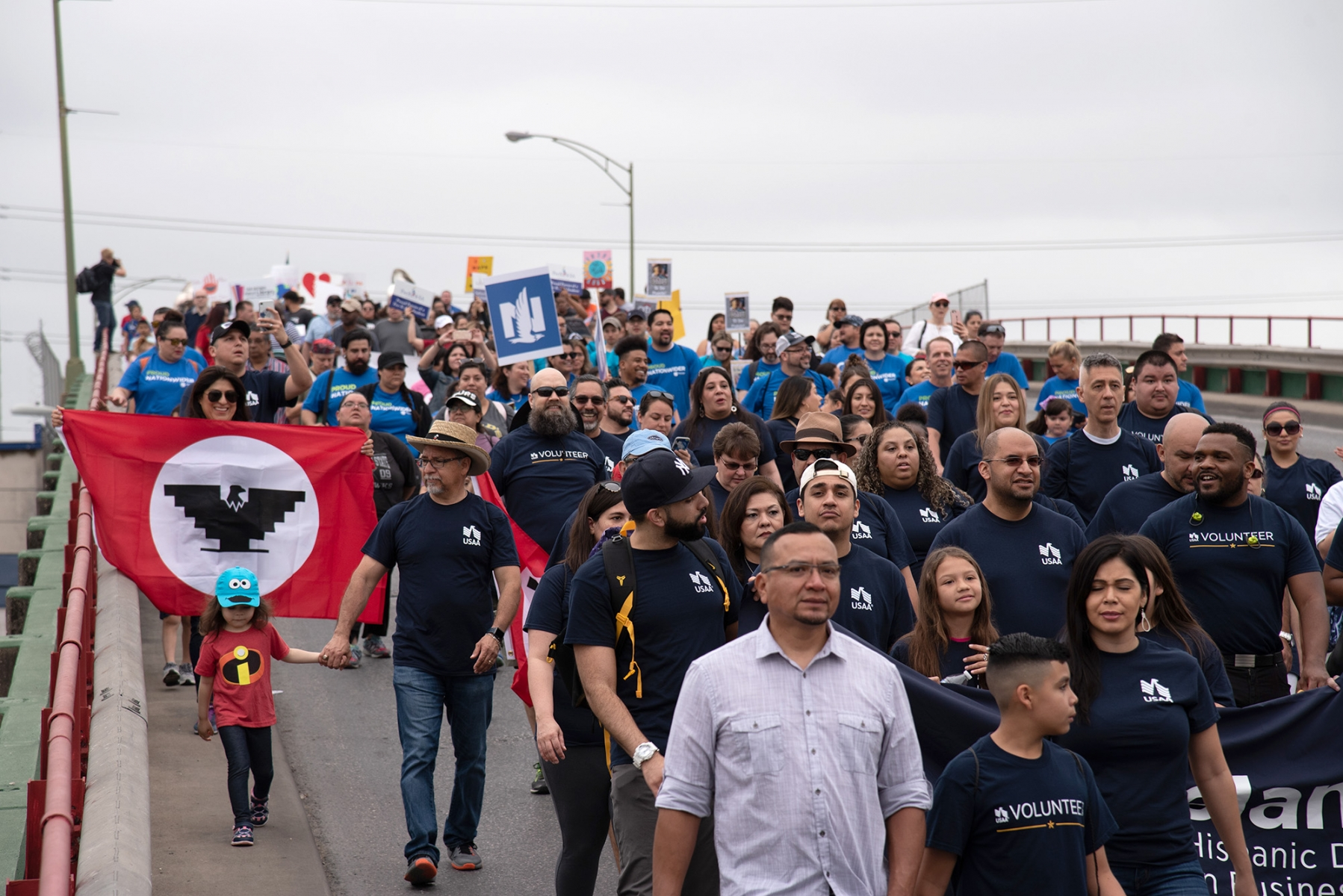 Participants walk down Guadalupe Street during San Antonio's 23rd annual César E. Chávez March for Justice on Saturday, March 30. Photo by V. Finster | Heron