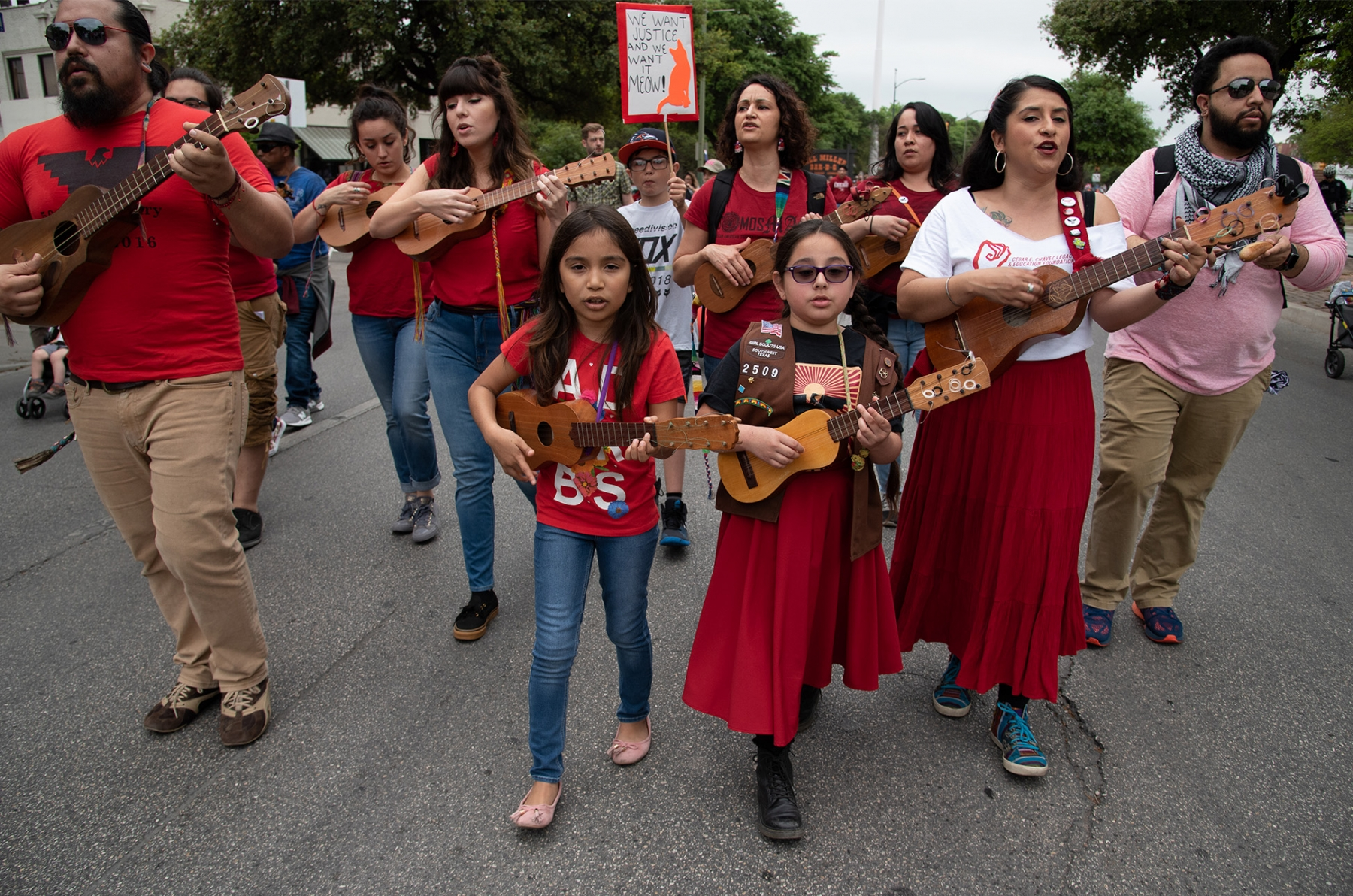 Members of Tallercito de Son play their instruments during San Antonio's 23rd annual César E. Chávez March for Justice March 30 on South Santa Rosa Avenue. Photo by V. Finster | Heron