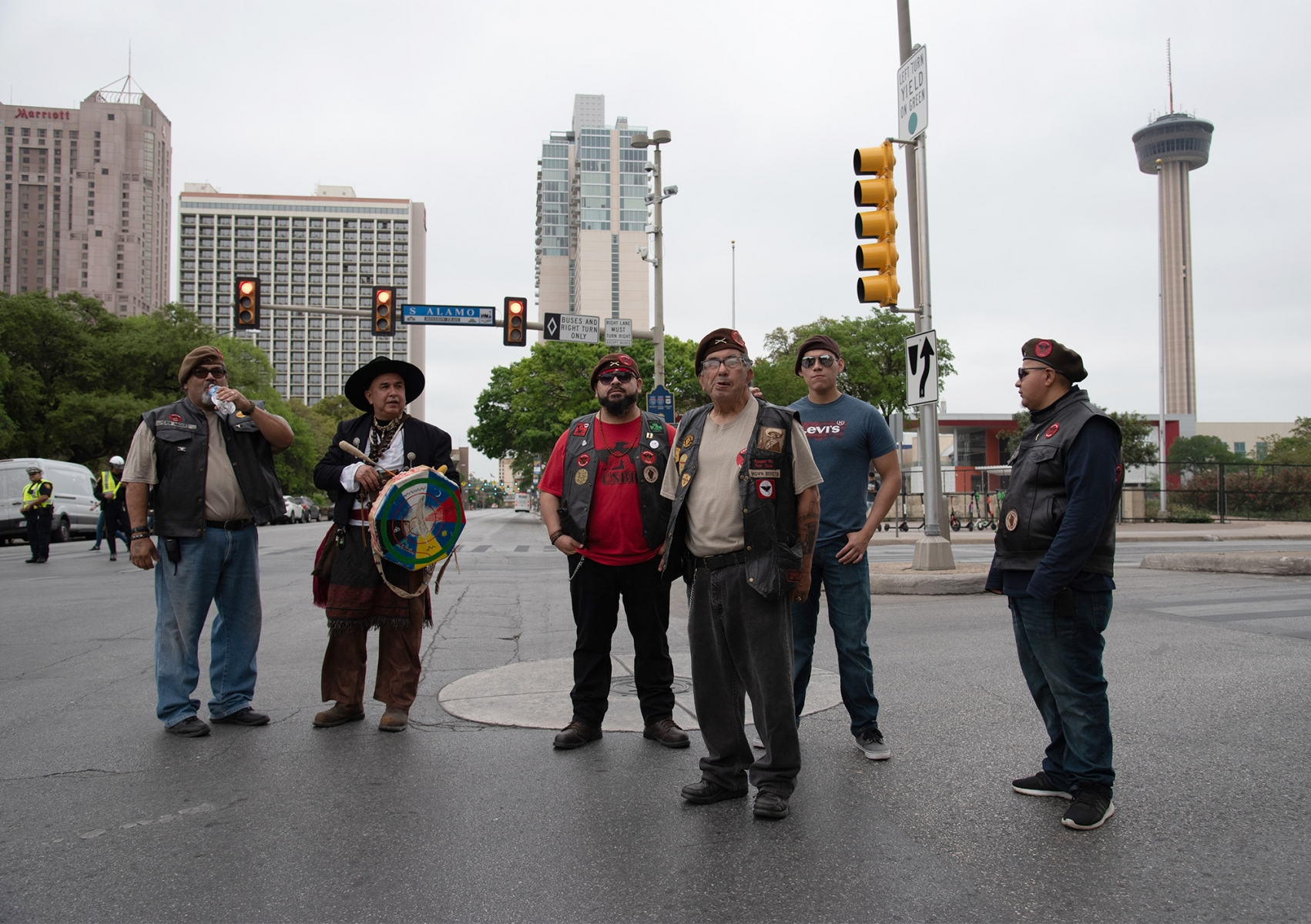 Participants wait for the march to catch up during San Antonio's 23rd annual César E. Chávez March for Justice on Saturday, March 30, on the corner of South Alamo and Market streets. Photo by V. Finster | Heron