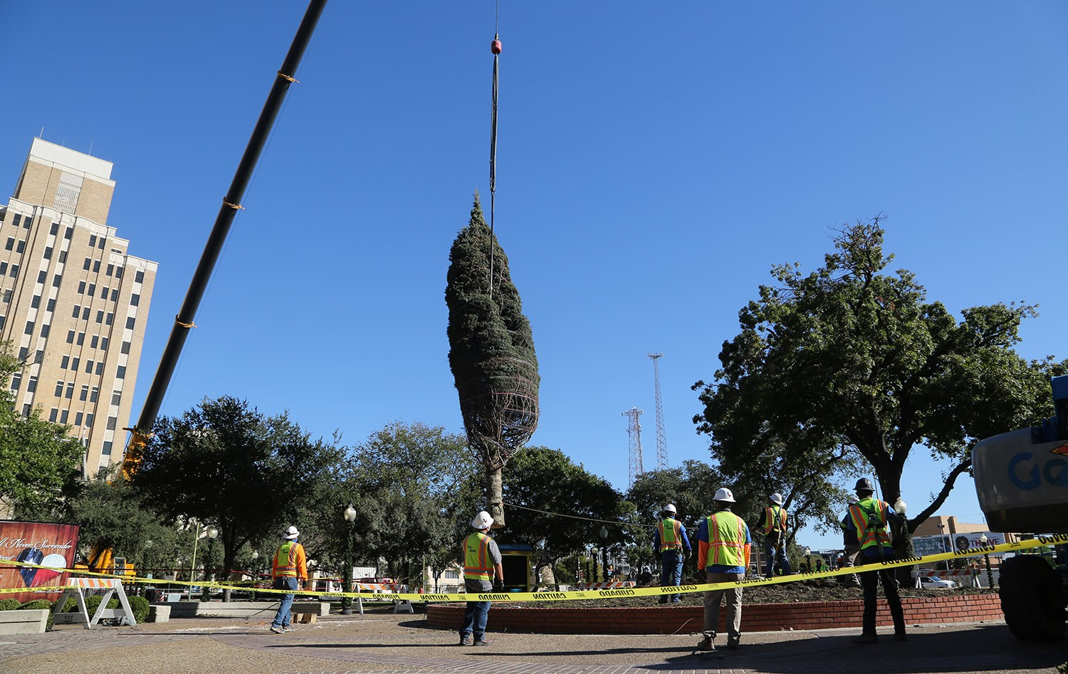 The H-E-B Christmas tree from Northern Michigan arrives Nov. 17, 2020, Travis Park.‬ <em>Photo by Ben Olivo | Heron</em>
