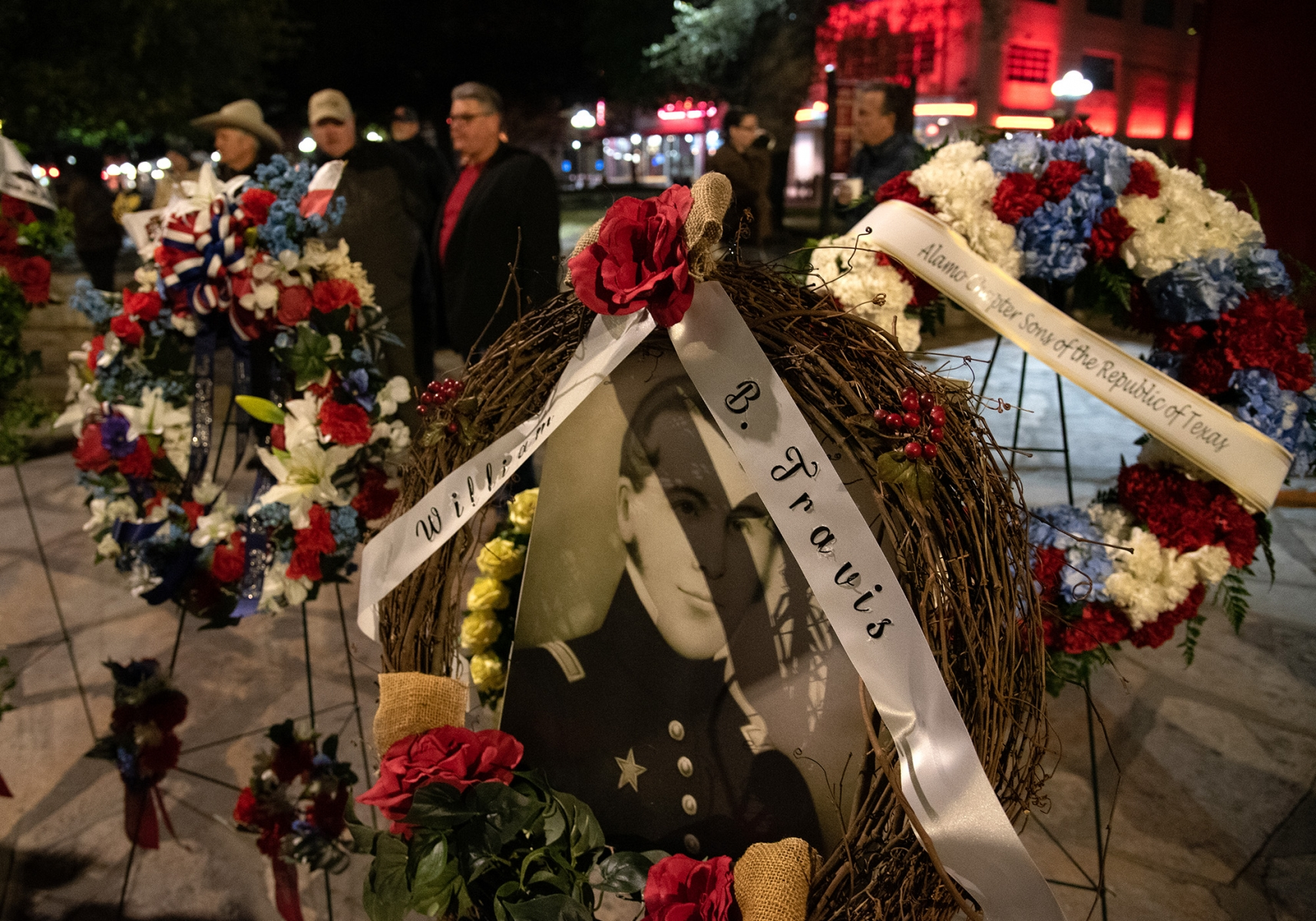 Wreaths honoring Alamo defenders are placed in front of the Alamo during the Dawn at the Alamo ceremony March 6, 2019, at Alamo Plaza.
