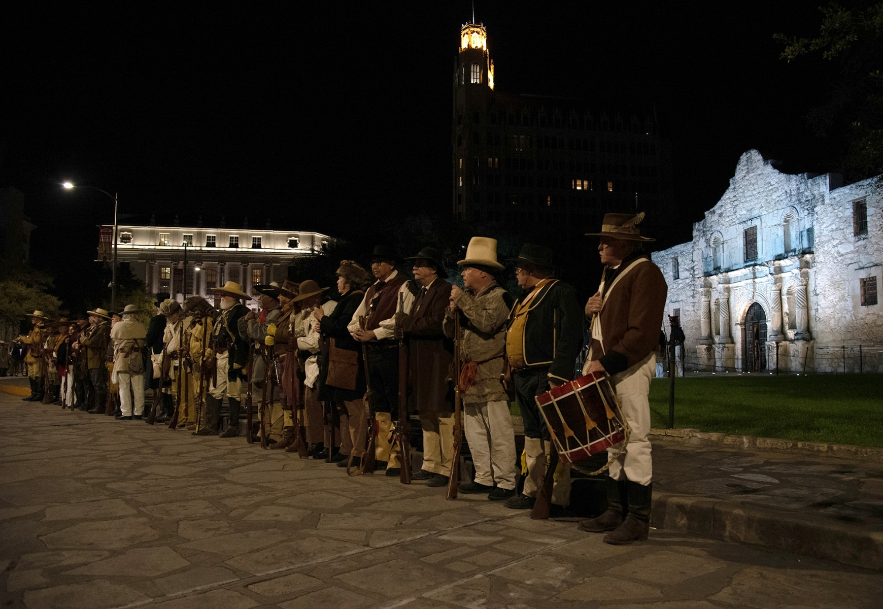 Re-enactors portray soldiers during the Dawn at the Alamo ceremony March 6, 2019, at Alamo Plaza.