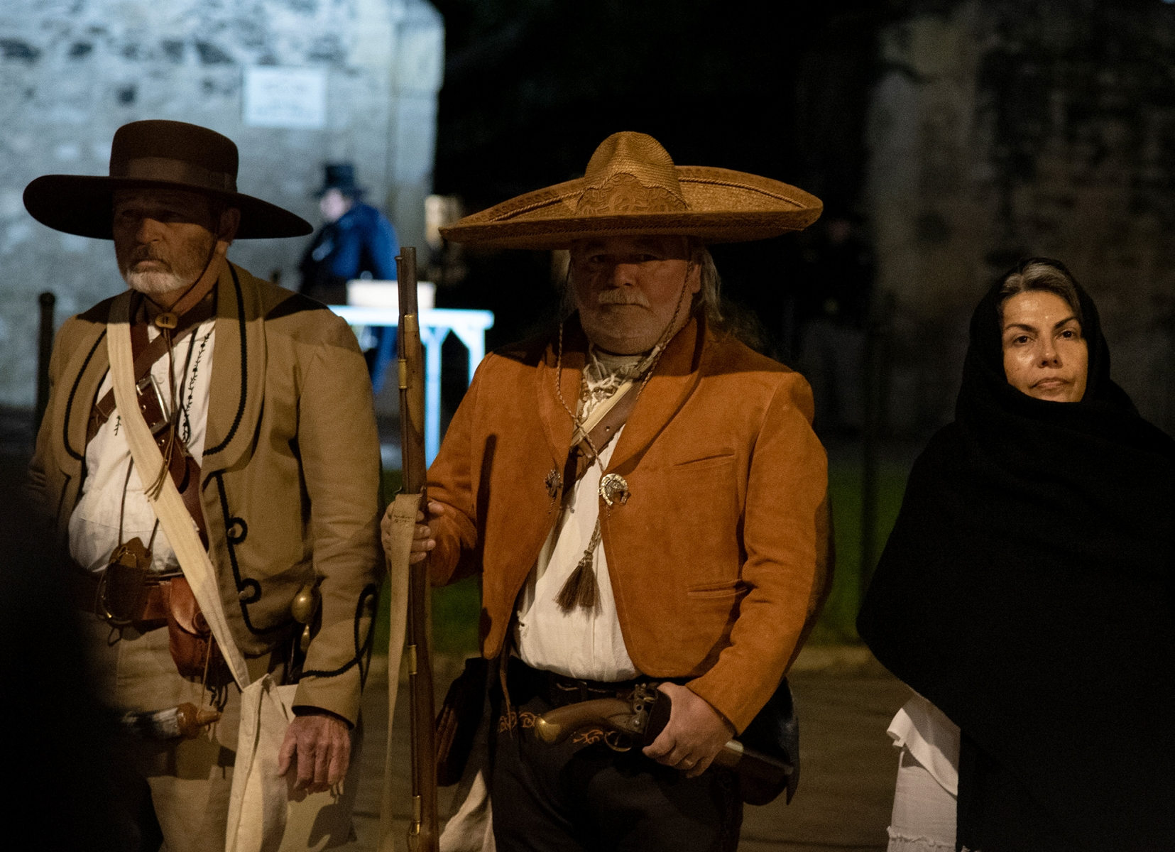 Juan Gonzales (center) portrays Gregorio Esparza during the Dawn at the Alamo ceremony March 6, 2019, at Alamo Plaza.