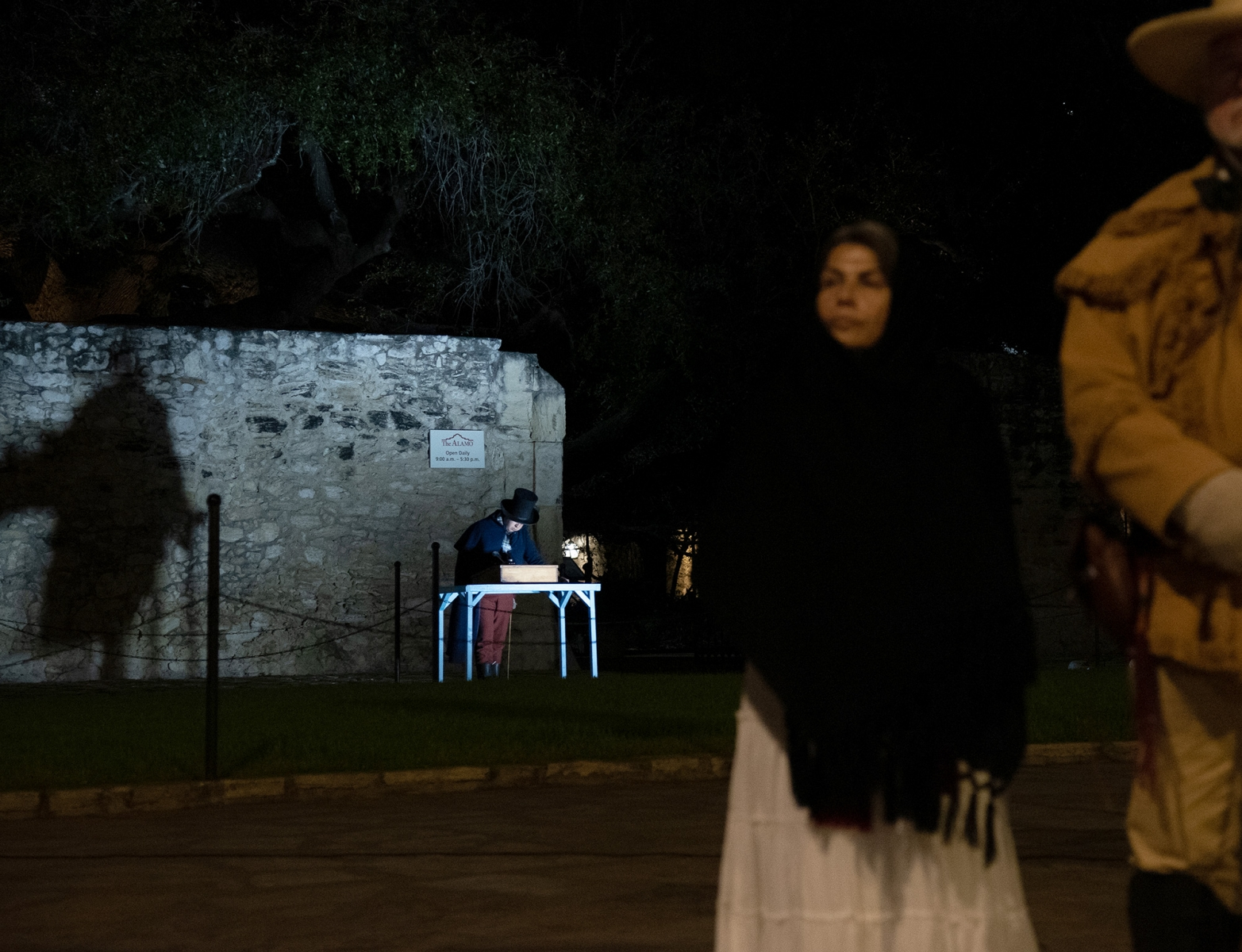 A re-enactor portrays a scene during the Dawn at the Alamo ceremony March 6, 2019, at Alamo Plaza.