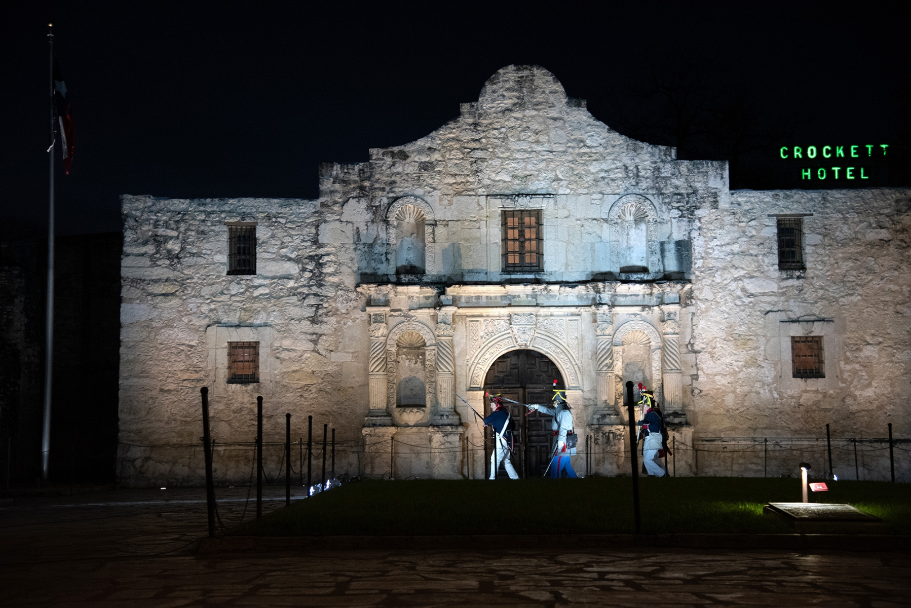 Individuals portraying Gen. Santa Anna's men re-enact their march towards the north wall of the Alamo during the Dawn at the Alamo ceremony March 6, 2019, at Alamo Plaza.