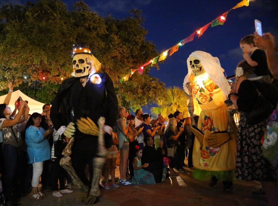 In 2017, calavera puppets are used in the Dia de los Muertos procession at La Villita. <em><b>Photo by Ben Olivo | Heron</b></em>
