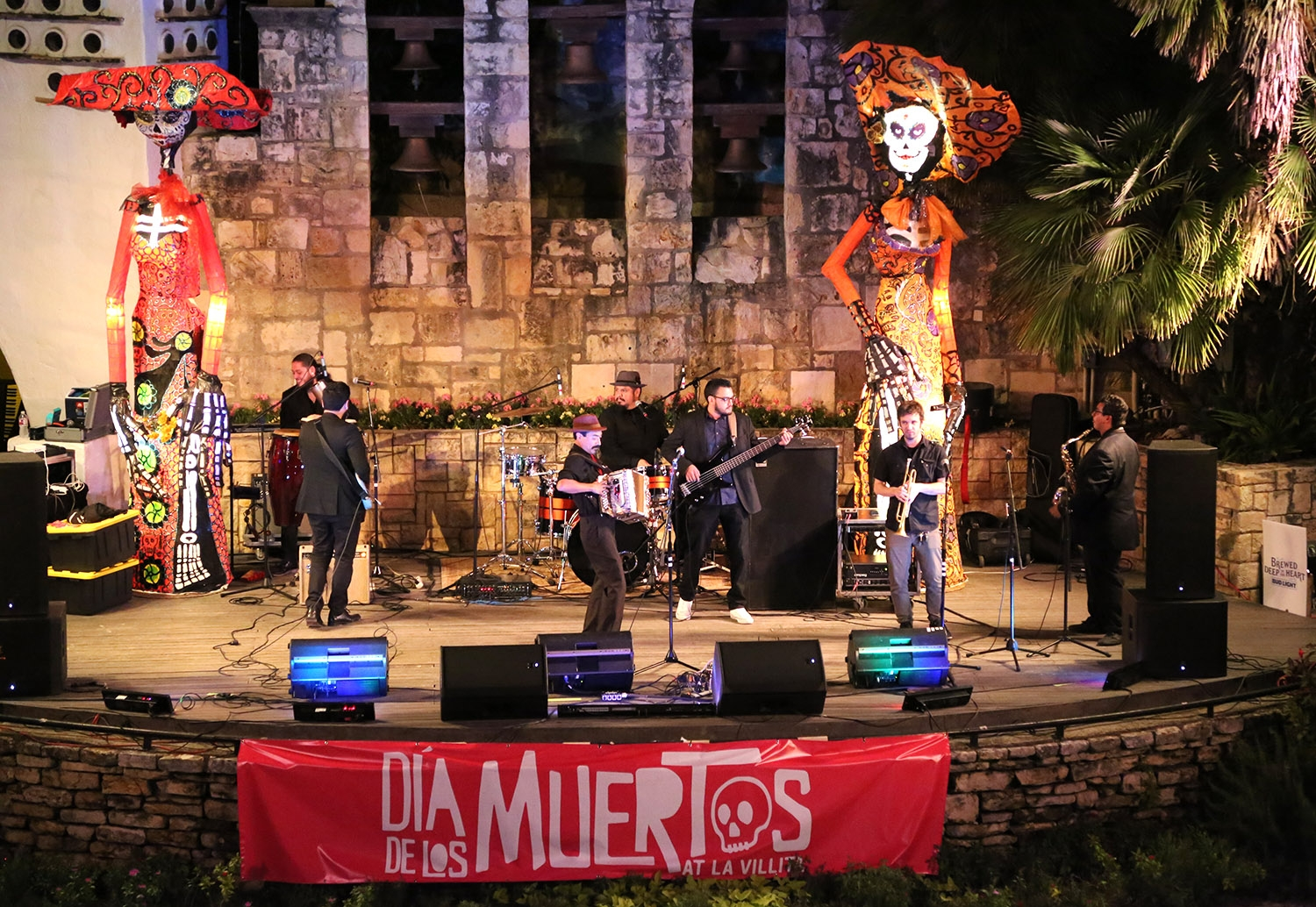 Los Nahuatlatos making things go at Arneson River Theatre for the Dia de los Muertos festival. <em><b>Photo by Ben Olivo | Heron</b></em>