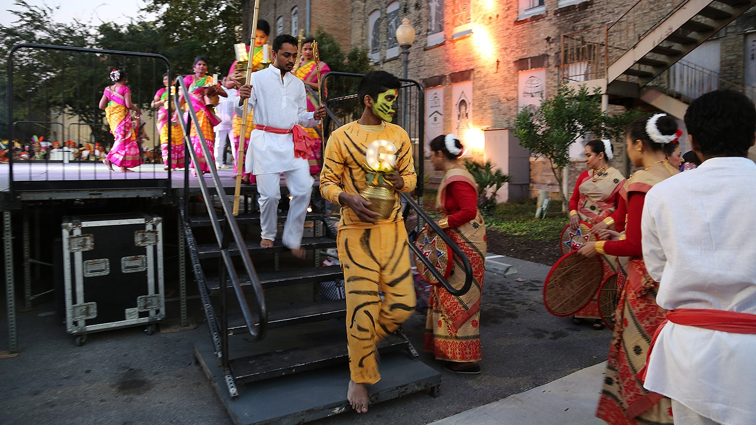 A dance group exits the stage at the 10th Diwali festival at Hemisfair. <em><b>Photo by Ben Olivo | Heron</b></em>