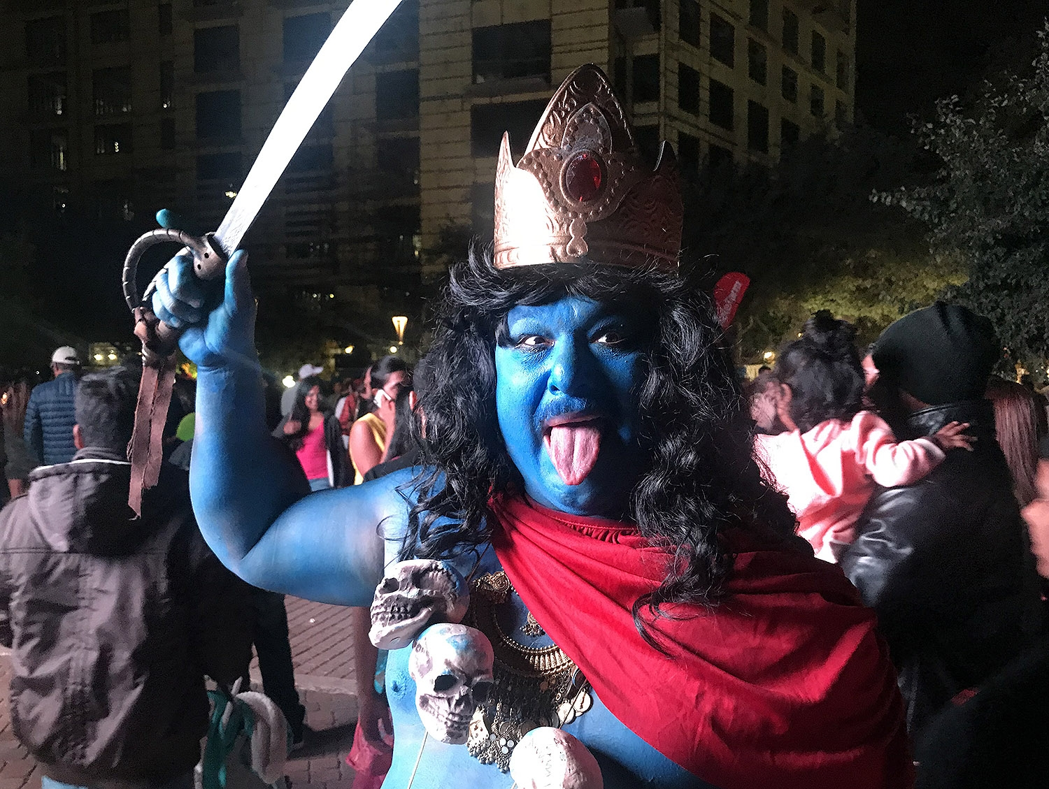 Joedy Yglesias dresses as a Hindu deity. <em><b>Photo by Ben Olivo | Heron</b></em>