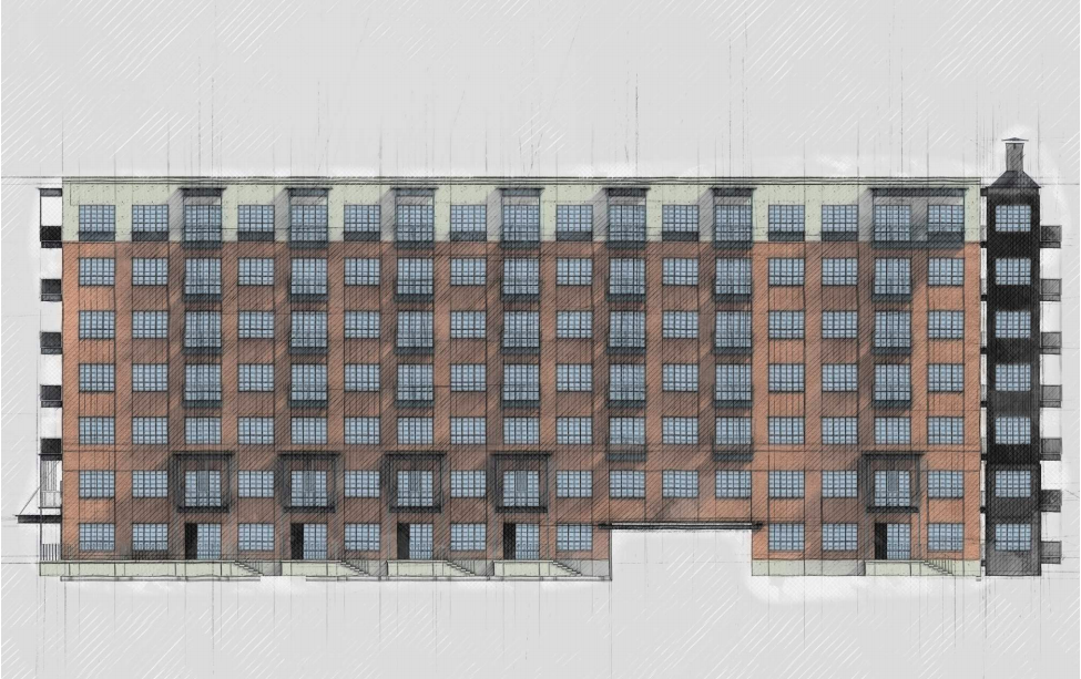 The Elmira Apartments, 1126 E. Elmira St., is a 265-unit, 7-story apartment complex with structured parking, and ground floor live-work units and retail, proposed by Silver Ventures. Courtesy Don B. McDonald Architect