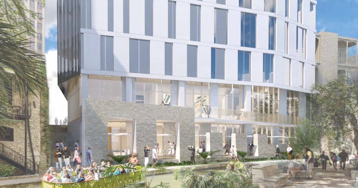 The Floodgate apartment tower by developer Keller Henderson is proposed for 143 E. Commerce St. Courtesy Rhode: Partners