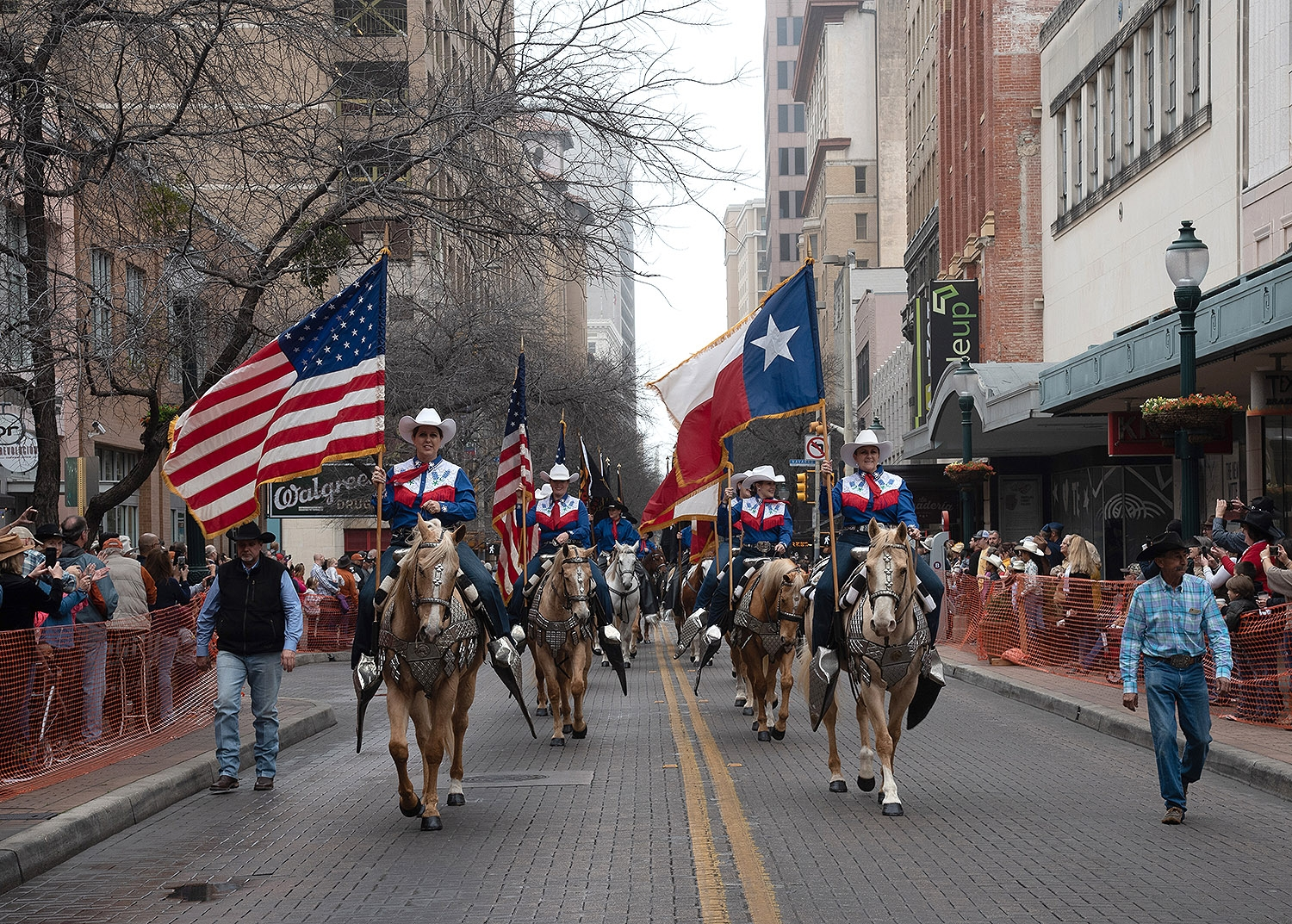 Jack Sellers Bexar County Palomino Patrol and Drill Team walk down Houston St. during the Western Heritage Parade and Cattle Drive Feb. 2. <em><b>V. Finster | Heron</b></em>