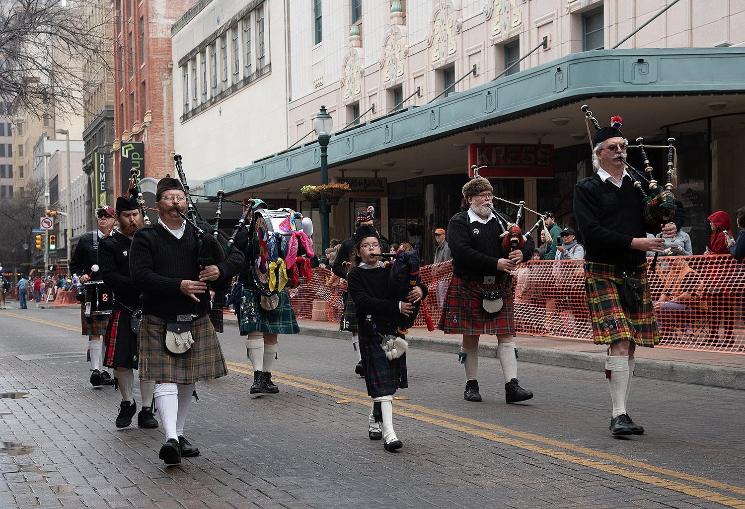 San Antonio Pipes and Drums walk down Houston St. during the Western Heritage Parade and Cattle Drive Feb. 2. <em><b>V. Finster | Heron</b></em>