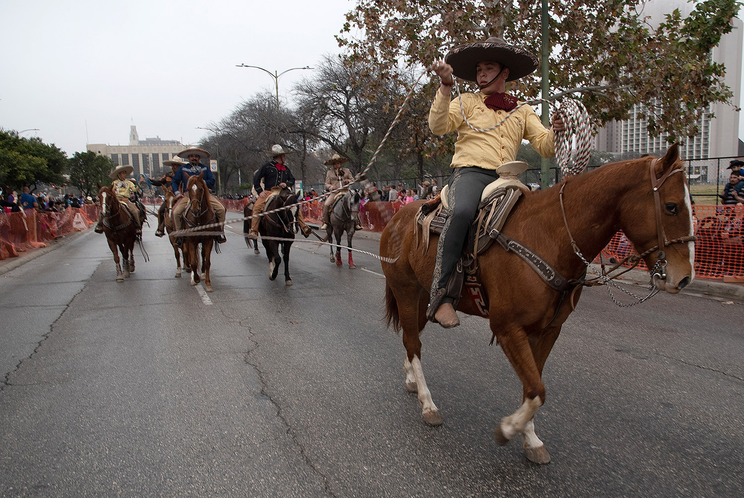 A member of Charros de Bejar lasso's during the Western Heritage Parade and Cattle Drive Feb. 2 on S Alamo St. <em><b>V. Finster | Heron</b></em>