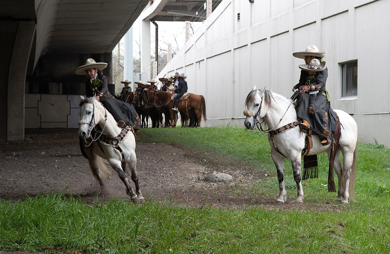 Jasmine Medina, 12, member of Charros de Bejar, practices before the Western Heritage Parade and Cattle Drive Feb. 2 under I-35 at Houston St. <em><b>Photo by V. Finster | Heron</b></em>
