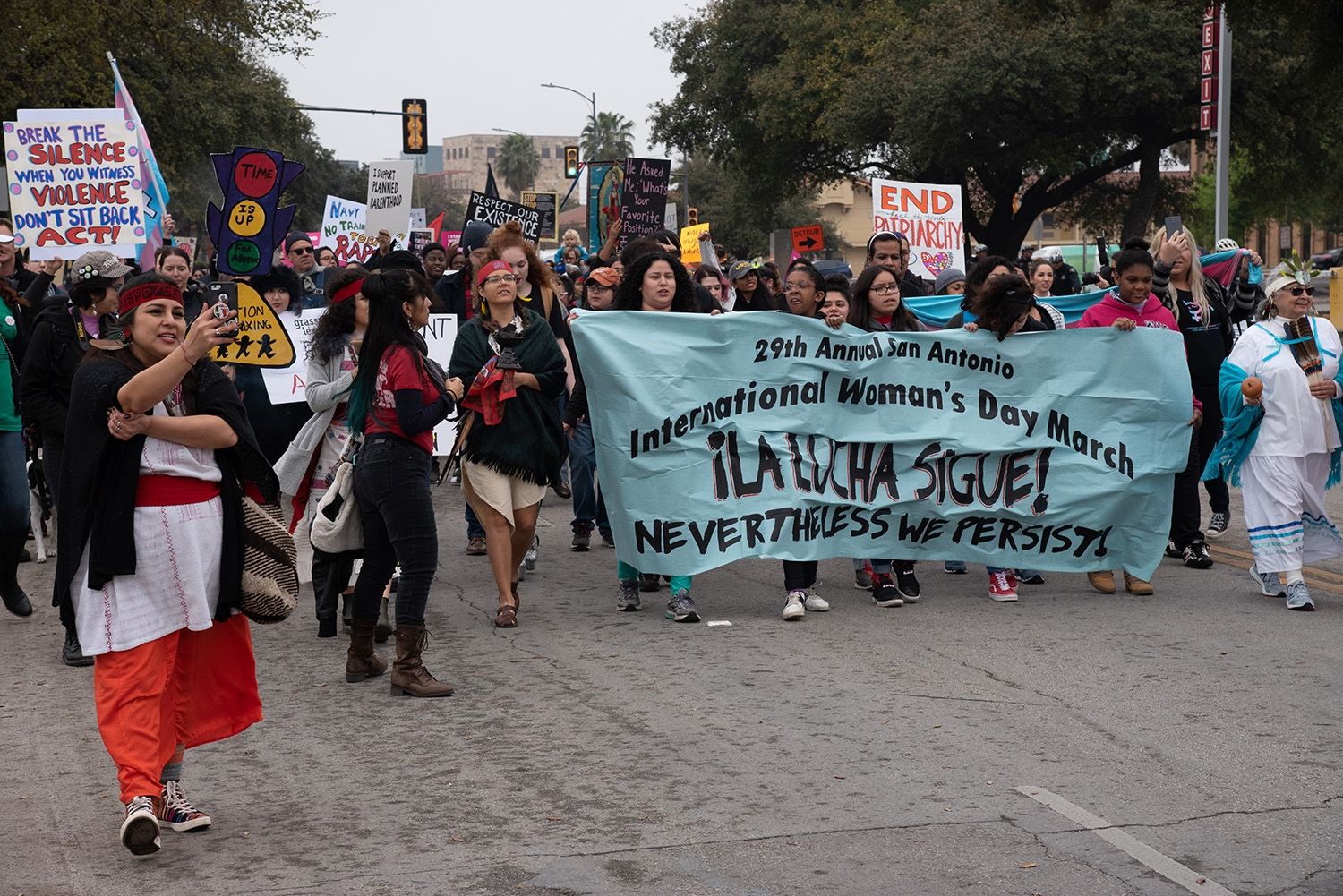 Participants during the 29th annual San Antonio International Women's Day March in downtown San Antonio on Saturday, March 2. <b><em>Photo by V. Finster | Heron</em></b>