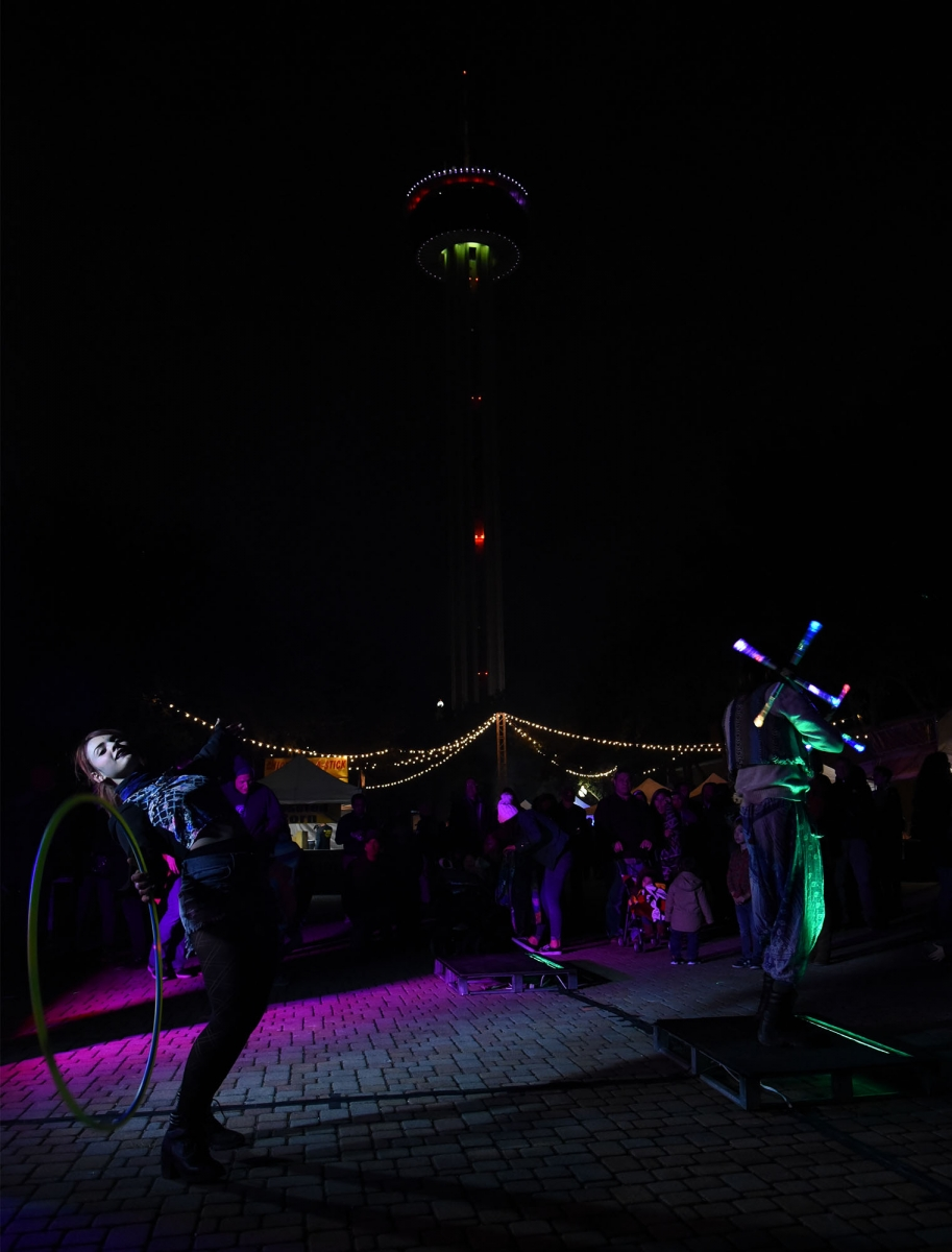 Performance artists  Christina Gonzalez and Andrew Salinas Nov. 11 at Luminaria. <em><b>Photo by V. Finster | Heron</b></em>