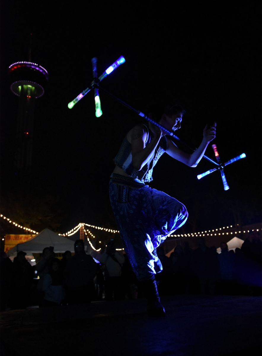 Performance artist Andrew Salinas Nov. 11 during Luminaria. <em><b>Photo by V. Finster | Heron</b></em>